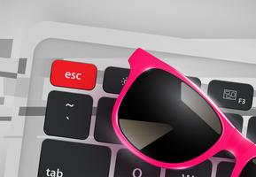 High-detailed realistic sunglasses on desk with keyboard, vector illustration