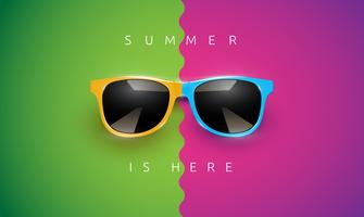 8497dad692 Realistic vector sunglasses on a colorful background