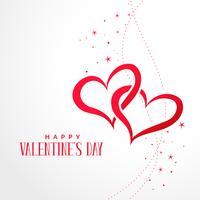 Dos corazones conectados con fondo de estrellas día de San Valentín