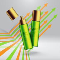 Realistic beauty products with colorful background, vector illustration