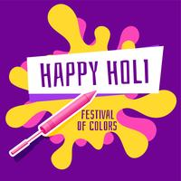 happy holi festival greeting with pichkari and color splash