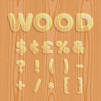 Wood texturized font set, vector illustration