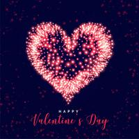glowing valentines day heart made with sparkles background