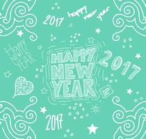 'Happy new year' hand drawn illustration, vector