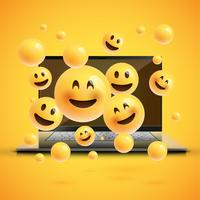 High-detailed emoticons on a notebook screen, vector illustration
