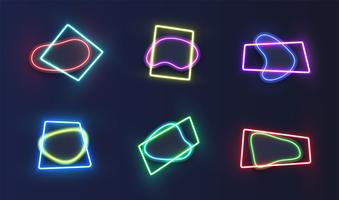 High-detailed neon template, vector illustration