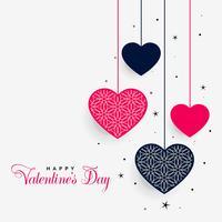 beaux coeurs suspendus de la Saint-Valentin