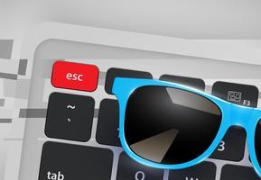 Lunettes de soleil réalistes très détaillées sur le bureau avec clavier, illustration vectorielle