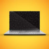 Realistic isolated notebook with shiny black screen, with waterdrops, vector illustration