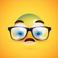 3D gele emoticon met brillen, vectorillustratie