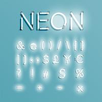 Personagem de néon realista typeset, vector