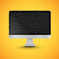 Realistic isolated PC with shiny black screen, with waterdrops, vector illustration