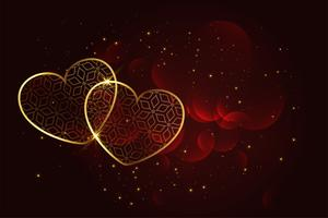 Fondo de corazones dorado artístico premium