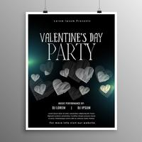black valentines day flyer template with hearts shape