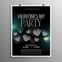 svart valentines dag flygblad mall med hjärtan form
