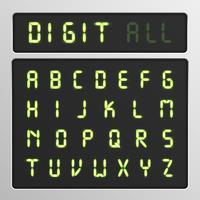Jeu de caractères numériques à partir d'une police de caractères sur un écran, illustration vectorielle