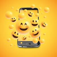 Emoticon 3D con smartphone realistico, illustartion di vettore
