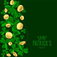 clover leaves with gold coins saint patricks day background