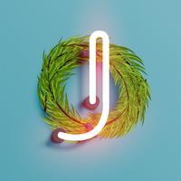 Fuente de neón de un conjunto de fuentes con pino decoración de Navidad, ilustración vectorial