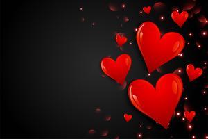 svart bakgrund med handdragen hjärtan