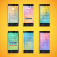 Simple and colorful UI set for smartphones - Login screen, vector ilustration