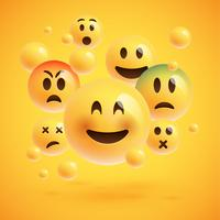 Un gruppo di un emoticon giallo realistico di fronte a uno sfondo giallo, illustrazione vettoriale