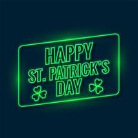 happy saint patricks day written with green neon light background