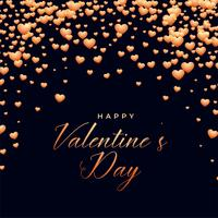 black background with falling hearts valentines day