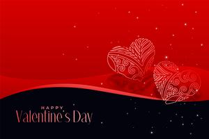 artistic hearts on red valentines day background