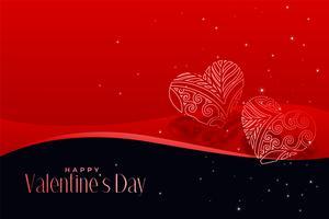 Corazones artísticos sobre fondo rojo día de San Valentín