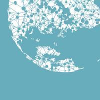 Monde en pointillé avec des connexions, illustration vectorielle