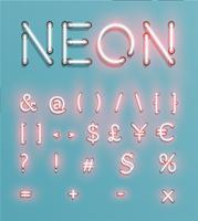 Caractère de néon réaliste, vector