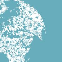 Gestippelde wereld met verbindingen, vectorillustratie