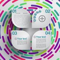 Rounded shape with shadow and colorful circle background