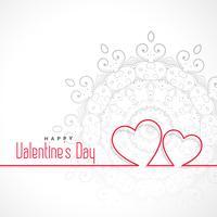 fond de Saint Valentin forme simple deux lignes coeurs forme