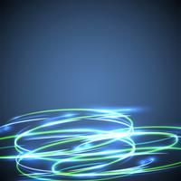 Neon blurry circles on a blue background, vector illustration.