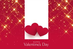 valentines day greeting with red hearts on sparkles background