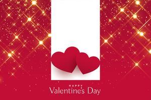 giorno di San Valentino saluto con cuori rossi su sfondo di scintillii