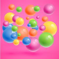 Colorful spheres floating, realistic vector illustration