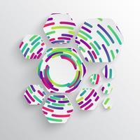 Forma redondeada con sombra y fondo de círculo colorido.