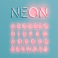 Realistic neon character font set, vector illustration