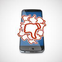 Abneigungspapierzeichen an einem realistischen Telefon, Vektor