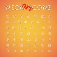 Glowing realistic neon icon set for web, vector illustration