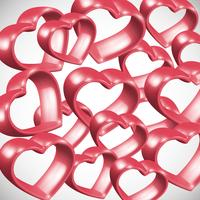 Red 3D heart frame, vector illustration