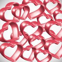 Marco rojo del corazón 3D, ilustración vectorial
