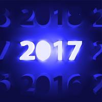 Néon 2017 brillant signe, illustration vectorielle
