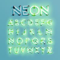 Realistic neon character set, vector illustration