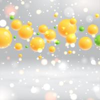 Shiny realistic yellow bubbles floating with grey background, vector illustrations
