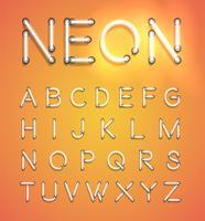 Conjunto de neón realista, ilustración vectorial