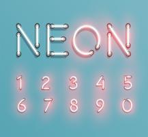 Il carattere al neon realistico compone, vector
